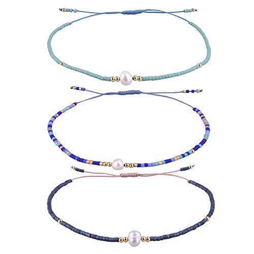 KELITCH 3 Pcs Shell Pearl Seed Beads Friendship Bracelets Handmade Adjustable String Bracelet #N (Three Best Friends Bracelets)