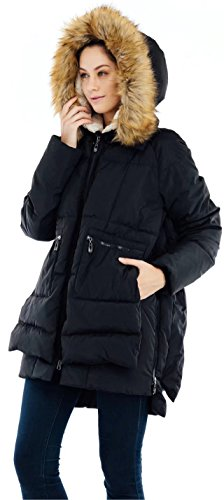 Valuker Women's Down Coat With Fur Hood 90D Parka Puffer Jacket 25-Black-XL