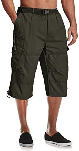 MAGCOMSEN Men's Cargo Shorts with 7 Pockets Twill Cotton Tactical Work Shorts Elastic Waist Below Knee 3/4 Capri Pants