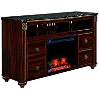 Signature Design by Ashley W347-68 Gabriela Collection TV Stand, 59, Dark Reddish Brown