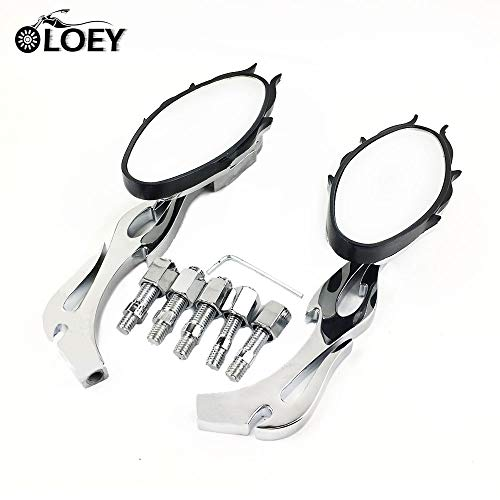 FINCOS 1 Pair Chrome Aluminum 8mm 10mm Motorcycle Flame Oval Custom Rearview Mirror for Honda Yamaha Kawasaki Chopper Moto Side -