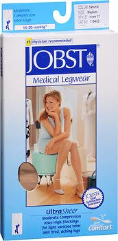 JOBST Medical LegWear Knee High 15-20 mmHg Ultra Sheer Medium Silky Beige, Pack of 6