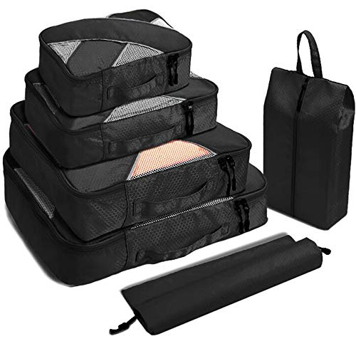 Travel Packing Cubes 6 Sets Luggage Organizers Neat Suitcase Space SavingLaundry Shoe Bag Travel Accessories