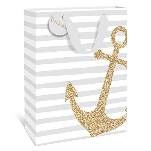 Silver Stripe Anchor Medium Gift Bag