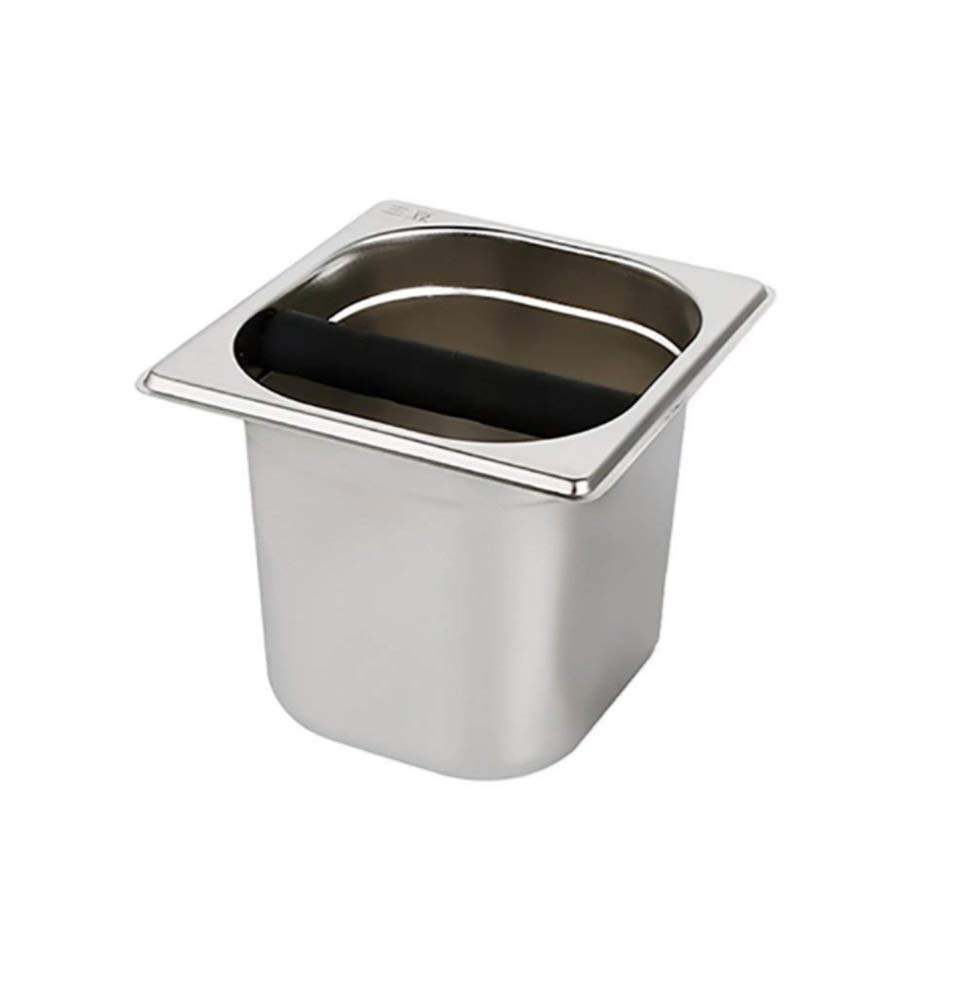 Emousport Stainless Steel Espresso Coffee Knock Box Container Coffee Grounds Container Coffee Bucket for Barista S/L Size (L Size)