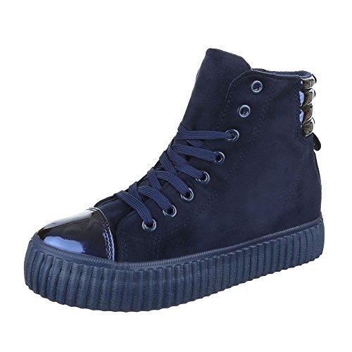 Ital-Design - Zapatillas de Material Sintético para mujer azul oscuro