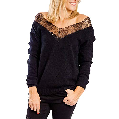 Joopee Sexy Women Hollow Out Long Sleeve Off Shoulder Perspective Lace Solid V-Neck Pullover(S,Black)