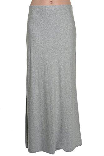 Jersey Maxi Long Skirt (Matty M Long Jersey Maxi Skirt (Heather Gray, Large))