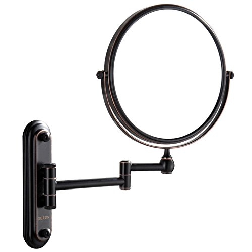 Gecious Wall Mount Vanity Makeup Magnifying Mirror,Black,1x/10x magnification,360°Swivel 12'' Extension Two-Side Retractable Oil Rubbed Finish,8-Inch by Gecious (Image #2)