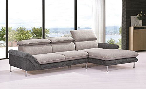 - Container Furniture Direct S0109R-2PC Alyssa Flocking Linen Upholstered Right-Sided Sectional Sofa Chaise,115