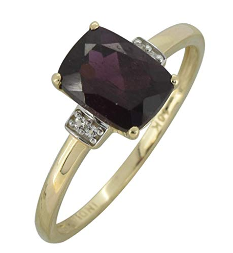YoTreasure 1.50 Ct. Red Rhodolite Garnet Solid 10K Yellow Gold Gemstone Princess Ring