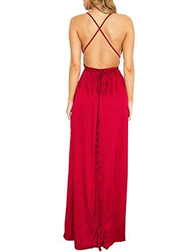 Simplee Apparel Women 's Plain V Neck Back Cross Side Split correa de saten Slip Maxi Dress Party Rojo