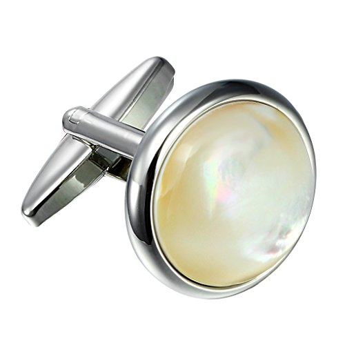 Urban Jewelry Unique 316L Stainless Steel Men's Round Cufflinks with Real Shell (Silver) (316l Stainless Steel Men Cufflinks)