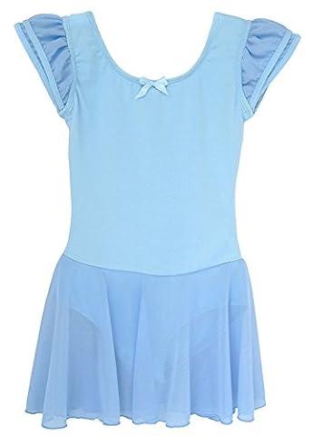 Dancina Leotard Dress Classic Flutter Sleeve Snug Fit Non Slip Comfy Cotton Body Suit 5 Light Blue - Blue Little Fan