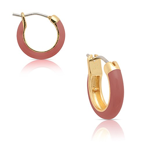 Hand Painted Lily - Jewelry for Girls - Red Hoop Earrings - Gold Plated with Hand Painted Enamel - By Lily Nily