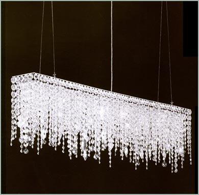 Moooni Rectangular Linear Crystal Chandelier Lighting Modern Dining Room Pendant Light L315 x W5 x H10