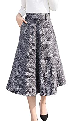 chouyatou Women's High Waisted A-Line Pleated Midi Plaid Wool Skirt with Pocket