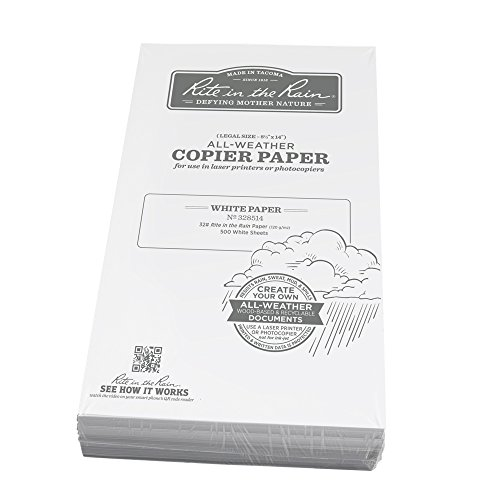 Rite in the Rain Weatherproof Laser Printer Paper, Legal Paper Size 8 1/2'' x 14'', 32# White,  500 Sheet Pack (No. 328514) by Rite In The Rain