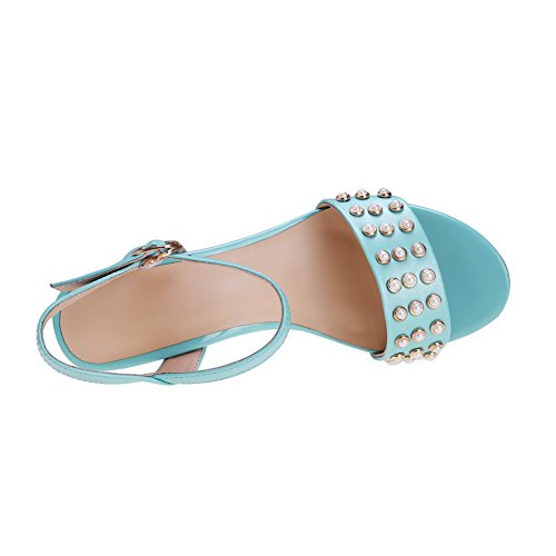 AmoonyFashion Womens Open Toe Buckle Cow Leather Solid High-Heels Sandals with Jewels Blue FzFkEZXK