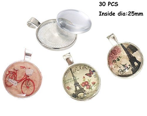 30 PCS 25mm Silver Pendant Trays with Glass Setting,Pendant Blank Base,Silver Pendant Trays,Cameo Bezel Cabochon Settings Resin Dome