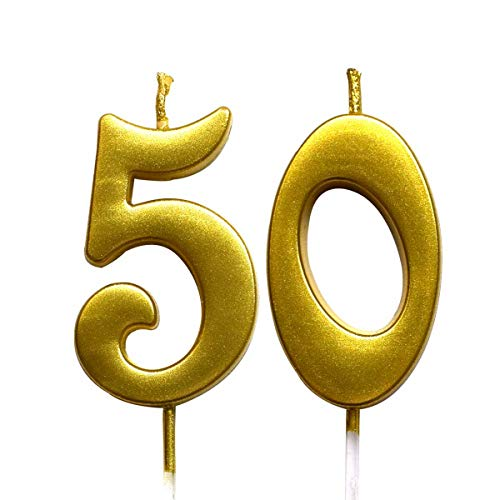 MAGJUCHE Gold 50th Birthday Numeral Candle, Number 50