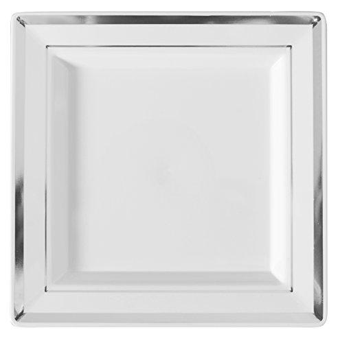 Square Splendor 5507-WH Trim Square Dessert Plate, 7.25-Inch, White and Silver, Pack of 120