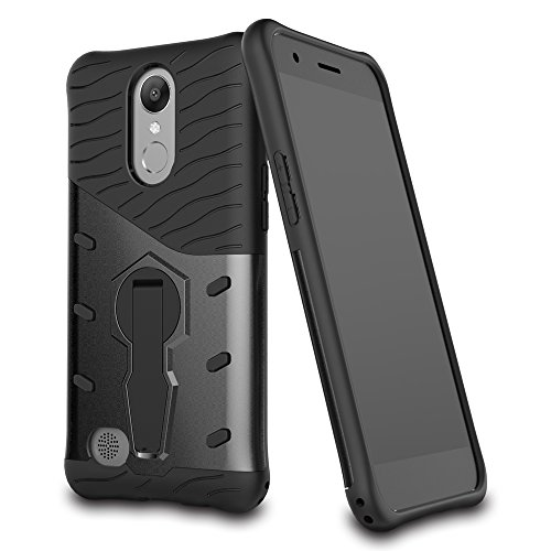 LG K10 2017 Case,LG K20 V Case, LG K20 Plus Case,Mustaner Dual Layer Shock-Absorption Armor Cover Full-body Protective Case with 360 Degrees Kickstand for LG VS501 / LG Grace / LG Harmony Case(Black)