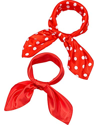 Blulu 2 Pieces Satin Scarf Square Sheer Neck Head Scarf Satin Ribbon Scarf for Women Ladies Girls, 2 Styles, 23.6 by 23.6 Inches (Red, Red and White Polka Dots)