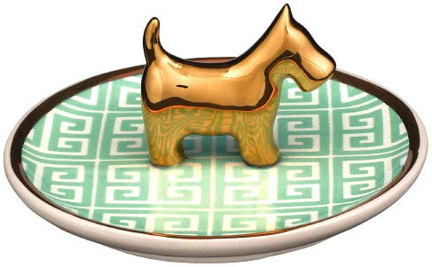 Stephanie Imports Ceramic Golden Dog Jewelry Ring Dish Tray