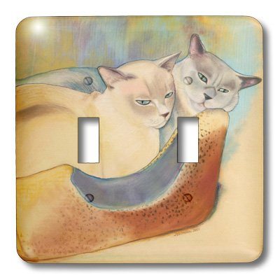 3dRose lsp_23299_2 Cats Two Cats Tonkinese Cats Cuddling Pastel Painting Pet Portrait Cats Cat Bed Double Toggle Switch