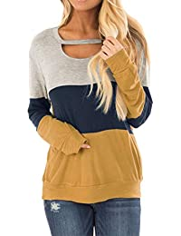 Women's Color Block Chest Cutout Tunics Long Sleeve Shirts Scoop Neck Blouse Casual Loose Tops