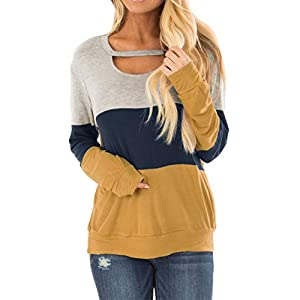 Topstype Women's Color Block Chest Cutout Long Sleeve T-Shirts Scoop Neck Blouse Casual Tunics Loose Fit Tops