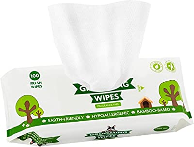 Pogi's Grooming Wipes - 100 Deodorizing Wipes for Dogs - Large, Earth-Friendly, Unscented, All Natural Pet Wipes