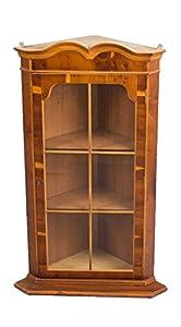 Hanging Yew Wood Corner Cabinet
