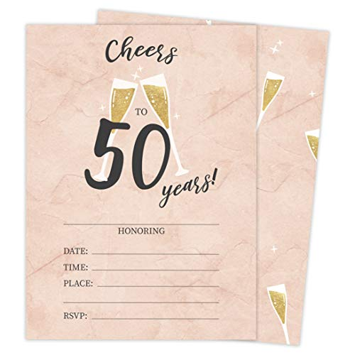 50th Birthday Style R Happy Birthday Invitations Invite Cards (25 Count) With Envelopes & Seal Stickers Vinyl Girls Boys Kids Party (25ct) -