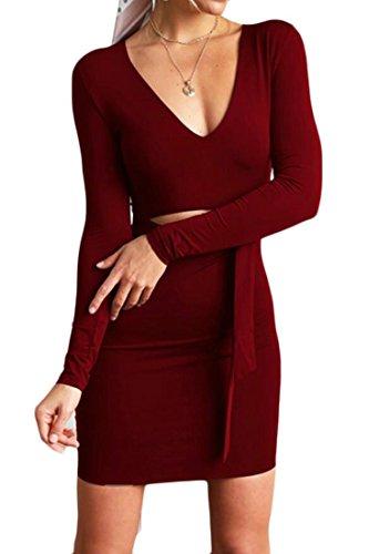 Domple Partie Mini Moulante Femmes V-cou Découpé À Manches Longues Noeud Cravate Sexy Robe Rouge Vin