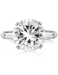 5.45ct Round Brilliant Cut Diamond Three-Stone Engagement Ring