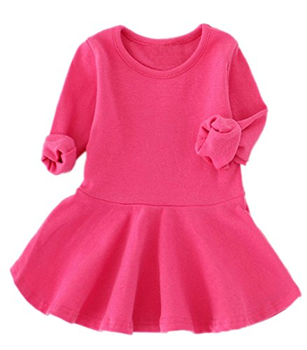 GSVIBK Baby Girls Cotton Dress Toddler Infant Ruffles Cotton Dresses Long Sleeve Solid Ruffle Dress Rose Red 476 104 ()