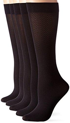 Calvin Klein Women's 5 Pack Essentials Trouser Knee High Socks, Black, Shoe Size -