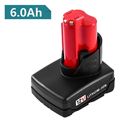 [Upgraded] 6000mAh 12V Lithium-ion Replacement Milwaukee M12 battery Milwaukee 48-11-2411 48-11-2402 48-11-2440 48-11-2411 M12 XC Cordless Drill batteries