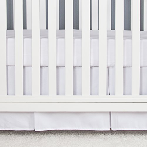 TILLYOU Microfiber Crib Skirt Pleated, Herringbone Jacquard Nursery Crib Bedding Skirts for Baby Boys and Girls, 14'' Drop White by TILLYOU