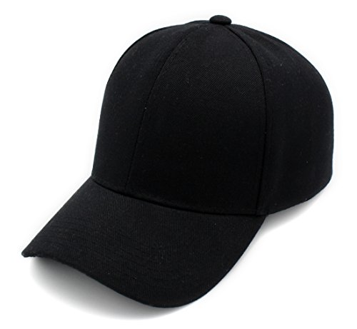 Top Level Baseball Cap Hat Men Women - Classic Adjustable Plain Blank, BLK -