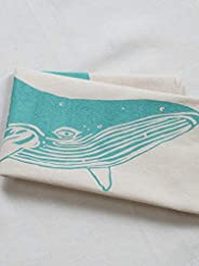 Tea Towel - Organic Cotton - Whale Design in Mint Green