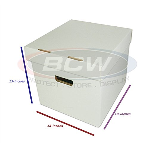 BCW-BX-33RPM-BOX - 12'' Record Album Storage Box with Removable Lid - Holds Up to 65 Vinyl Records - White - (5 Boxes)