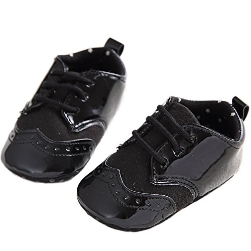 Baby Lace Up Brogue Shoes Medallion Wingtip Patent Leather Crib Dress Shoe Moccasins Black Size (Patent Crib Shoes)