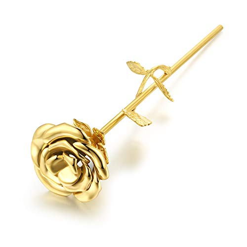 Rose Keepsake - Murinsar Solid Stainless Steel 3D Rose Flower Branch Cremation Urns for Human Ashes Pet Dog Cat Memorial Keepsake Funeral Ash Container Vessel,Gold
