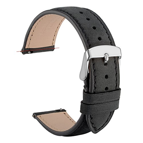 (WOCCI 20mm Suede Vintage Leather Watch Band with Pins Buckle, Quick Release Strap (Black with Tone on Tone Seam))