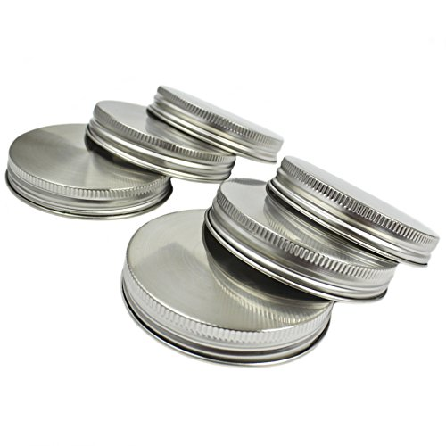 Zoie + Chloe Stainless Steel Mason Jar Lids with Silicone Seals (6 Pack + 6 Bonus Replacement Seals) - Wide Mouth