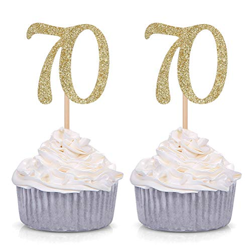 Giuffi Set of 24 Golden Number 70 Cupcake Toppers 70th Birthday Celebrating Party Decors