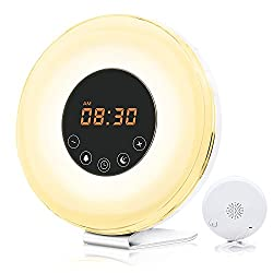 totobay Wake Up Light, Newest Alarm Clock {2nd Generation} Sunrise Simulation Snooze Radio Clock Bedside Night Light with Nature Sounds, FM Radio, Touch Control and USB Charger (6639)